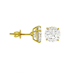 14k Gold Plated 2ctw Simulated Diamond Sterling Silver Screw Back Stud Earrings