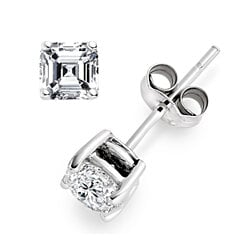 2 Carat CZ Asscher Cut Sterling Silver Square Stud Earrings