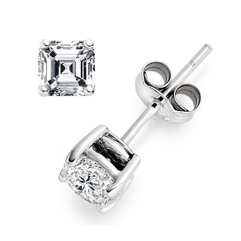 2 Carat CZ Asscher Cut Silver Square Stud Earrings