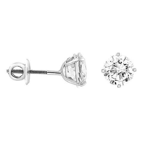 2CTTW CZ Sterling Silver Screw Back Stud Earrings