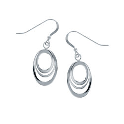 Sterling Silver Dangling Hoop Earrings