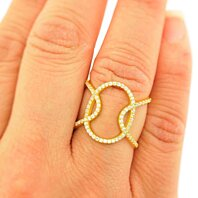 Sterling Silver Gold Plated Triple Oval Ring