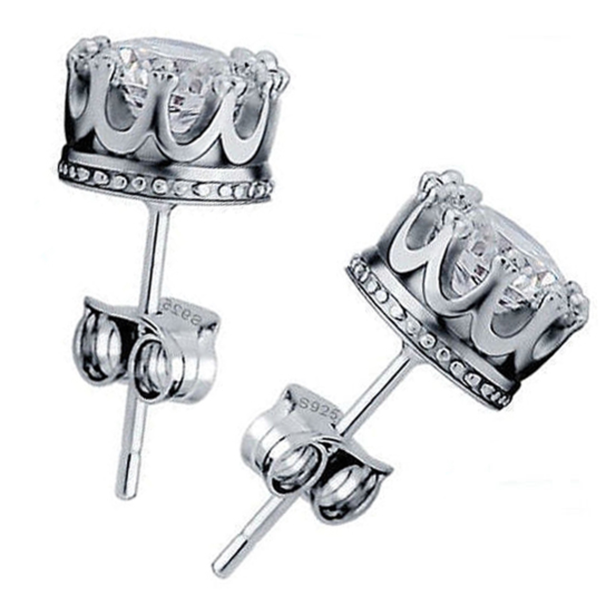 Sterling Silver Royal Crown Stud Earrings 53c96e4272989a8348000127