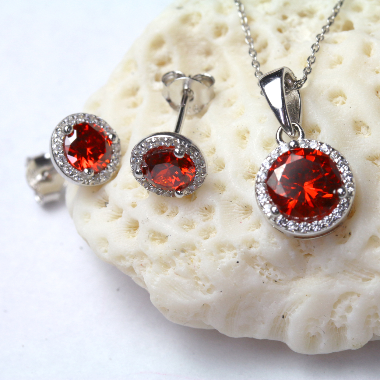 Sterling Silver Ruby Round Cz Earring And Pendant Set
