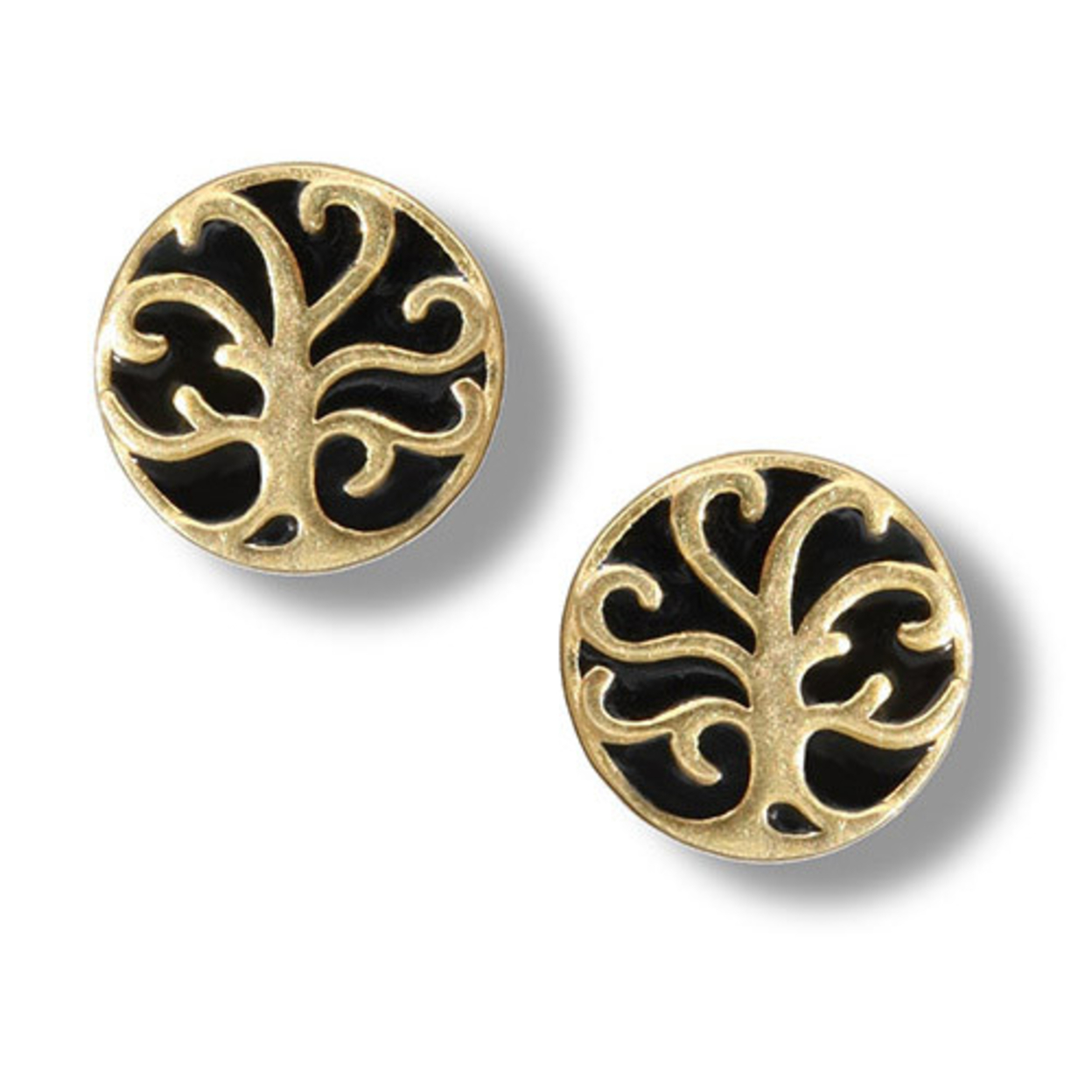 14k Gold Plated Sterling Silver Tiny Round Tree Of Life Earrings, #6761