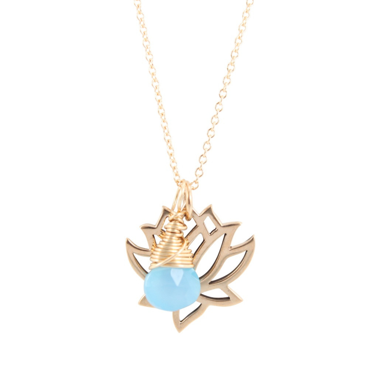 Bronze Lotus Necklace with Blue Chalcedony Briolette, #6850-brz - 16 5468e5687aaaaa4773000073