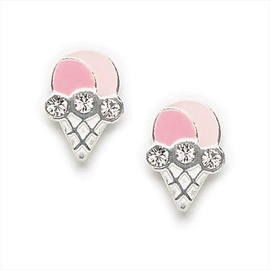 Buy Cute Little Pink Enamel Ice Cream Cone Earrings With