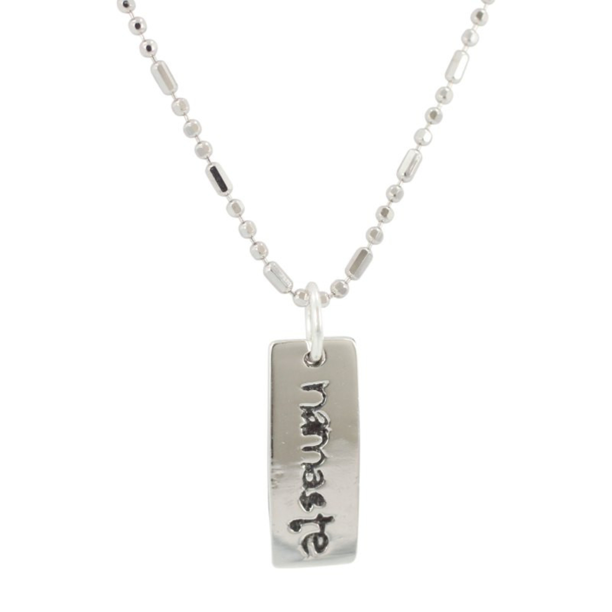 Namaste Double Sided Word Pendant In Sterling Silver On Bead Chain, #7057s