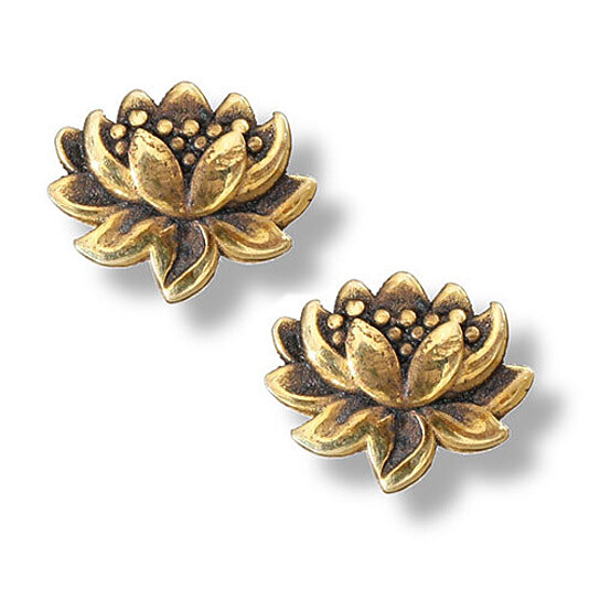 Buy small detailed lotus flower stud earrings in 14k gold for Gemsprouts tiny plant jewelry