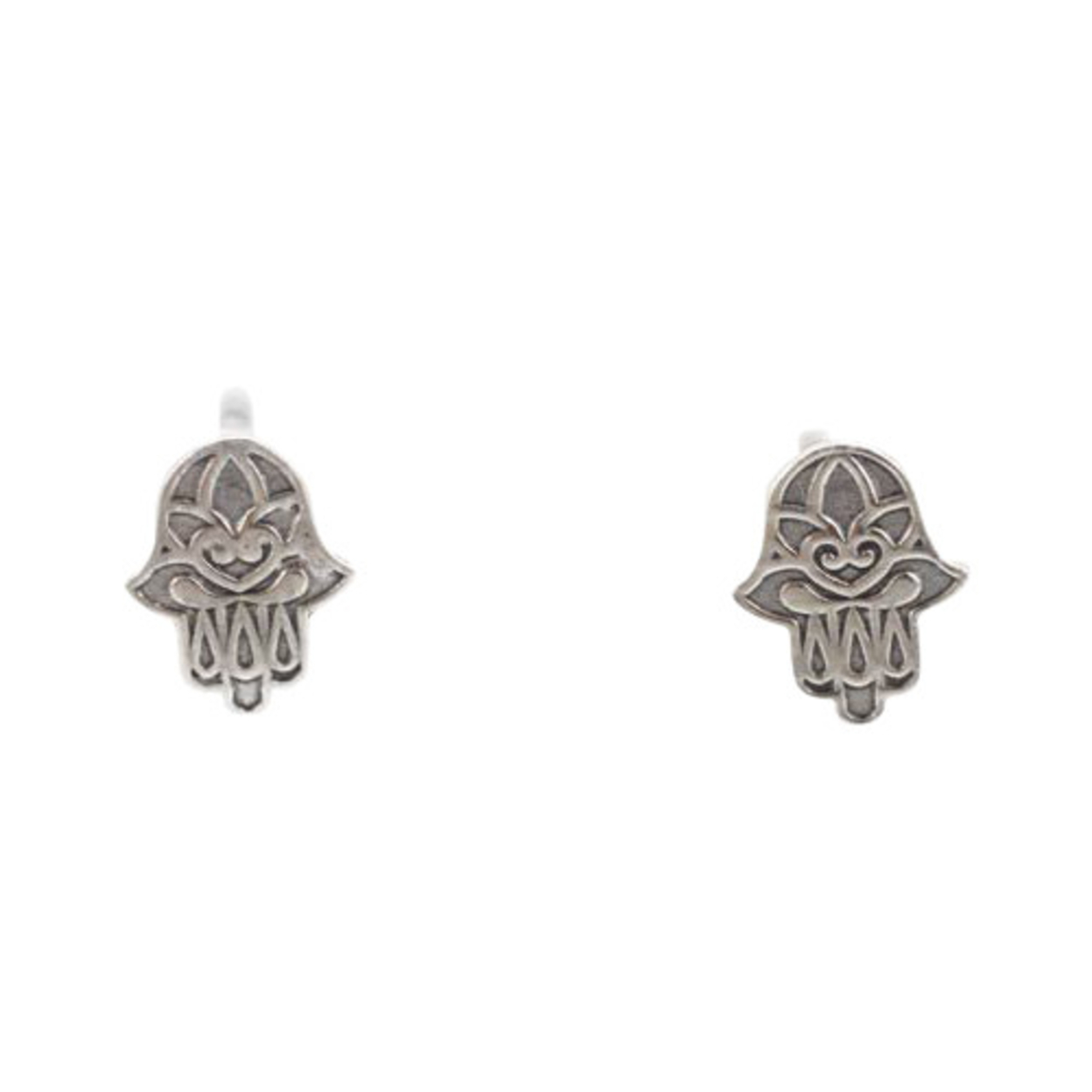 Tiny Decorative Hamsa Hand Post Earrings In Sterling Silver, #7432s