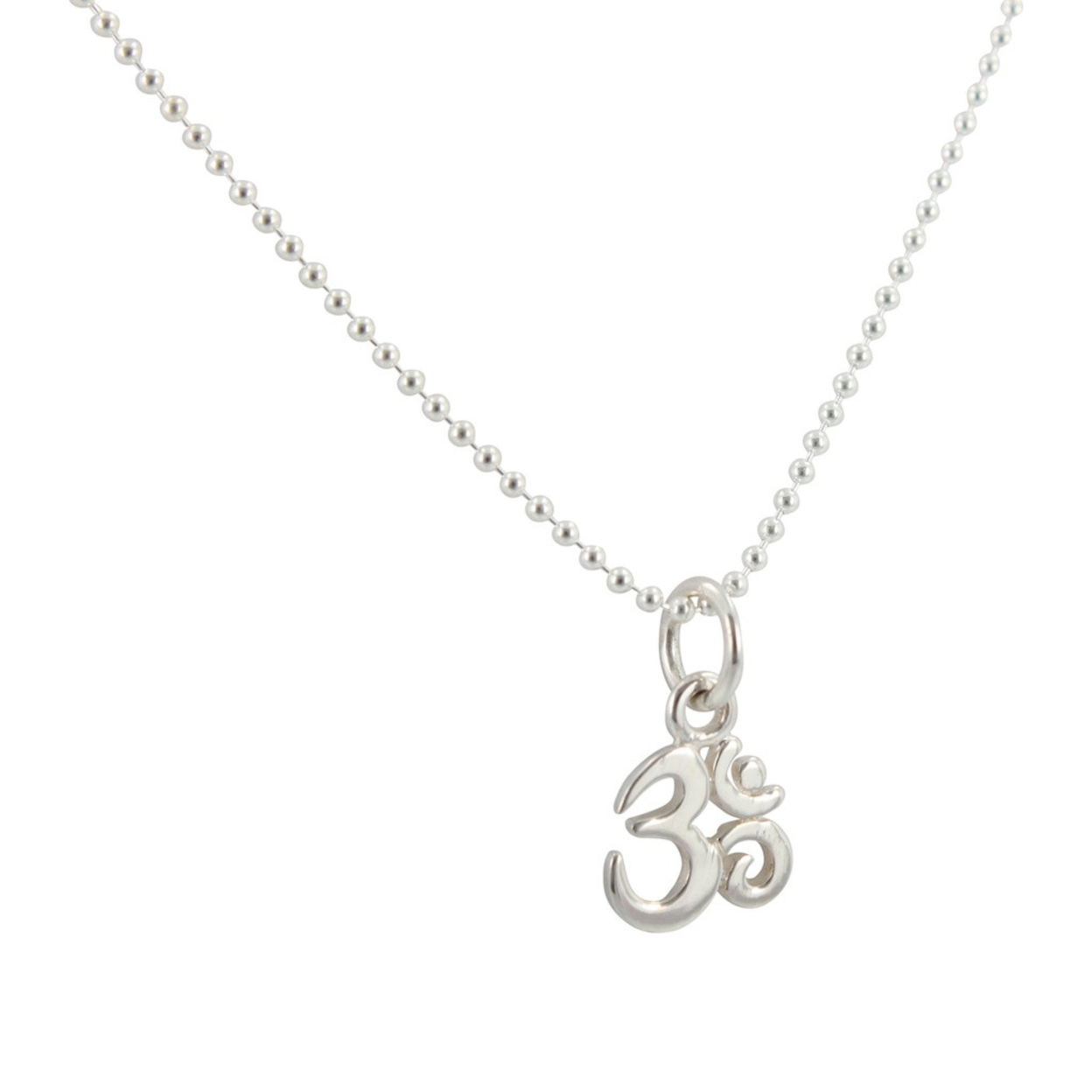 Tiny Om Necklace On Sterling Silver Ball Chain, #6837s 18