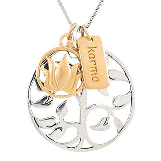 Buy Tree Of Life Lotus Flower And Karma Charm Necklace In