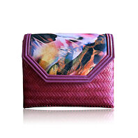 Ma-Ree Pink Feather Print Bamboo Clutch | Handbag